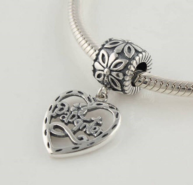 Sterling Silver European Charm Daughter Heart Dangle Bead