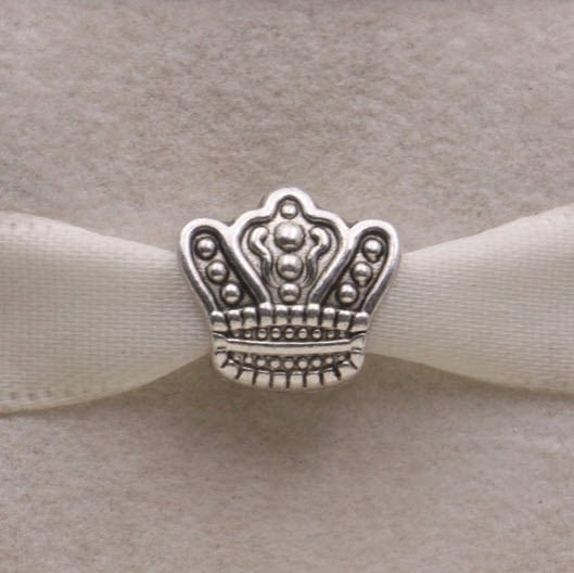 Solid 925 Sterling Silver Crown Fairytale European Charm Bead