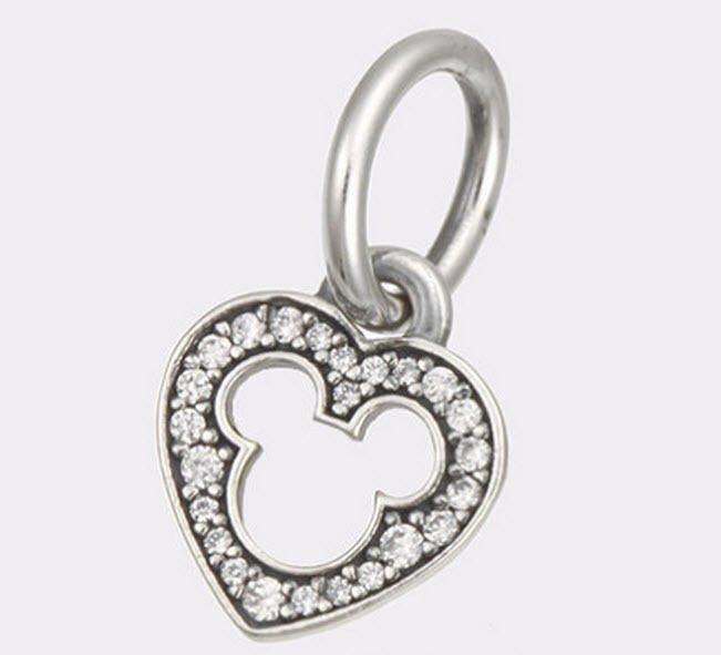 Authentic Pandora Silver Dangle Disney Mickey Silhouette CZ Bead 791557CZ