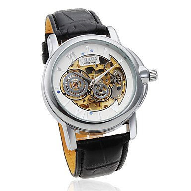 Men's Auto-Mechanical Hollow White Dial Black Leather Band Wrist Watch
