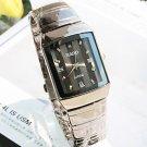 Men's Square Dial Rome Steel Band Quartz Fashion Wrist Watch