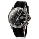 Men's Calendar Fashion Case Black Silicone Band Quartz Wrist Watch - DISCOUNT!!