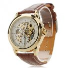 Men's Auto-Mechanical Skeleton Leather Band Wrist Watch - GREAT DISCOUNT