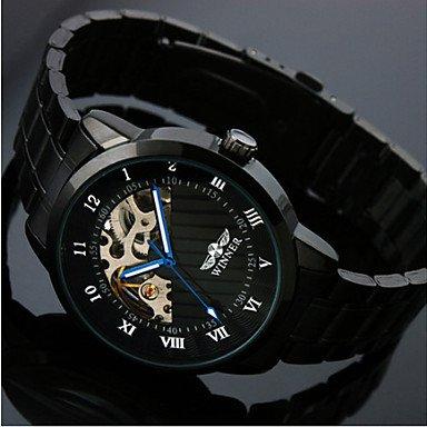 Men's Skeleton Black Steel Band Automatic Mechanical Wrist Watch - **DISCOUNT**