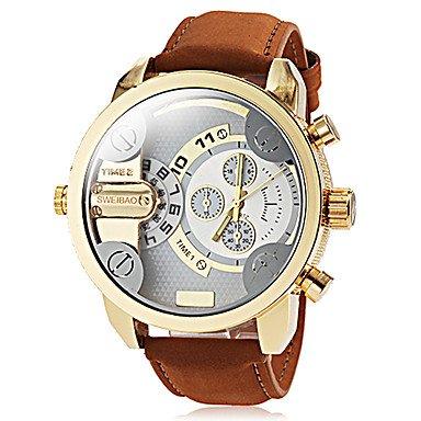Men's Dual Time Zones Gold Case Khaki Leather Band Quartz Wrist Watch - SPECIAL
