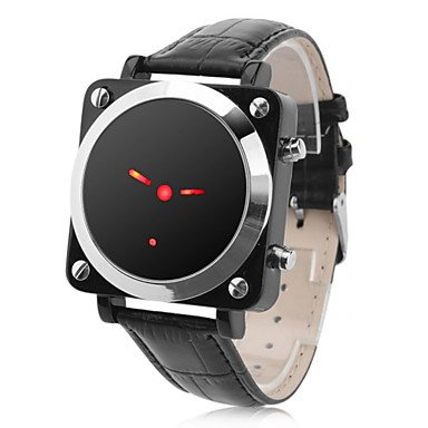 Men's Red LED Pointer Style Black PU Band Digital Wrist Watch