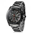 Men's Racing Style Black Alloy Quartz Wrist Watch - SPECIAL