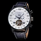 Men's Watch Auto Mechanical Tourbillon Hollow Engraving Calendar Leather Band