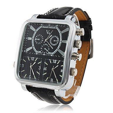 **Men's Wrist Watch Dress Watch Three Time Zones Rectangle Dial - **DISCOUNT**