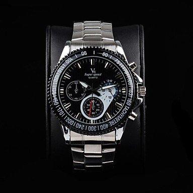 Men's Stylish Racing Dial Steel Band Quartz Wrist Watch - DISCOUNTED