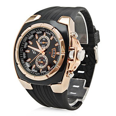 Men's Men's Watch Military Gold Case Rubber Band Wrist Watch