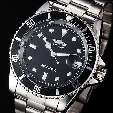 ** Men's Auto-Mechanical Calendar Silver Steel Band Wrist Watch **