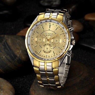 Men's Gold Round Dial Alloy Band Quartz Analog Wrist Watch