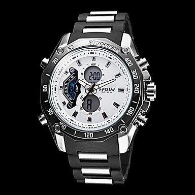 Men's Multi-Functional Analog-Digital Steel Round Dial Abs Band Quartz Watch