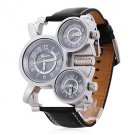 Men's Watch Military Three Time Zones Leather Band - SPECIAL PRICE