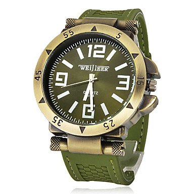 Men's Watch Military Green Bronze Silicone Strap - SPECIAL PRICE