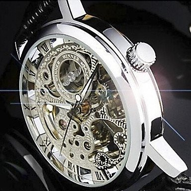 ** Semi-Mechanical Elegant Hollow Dial PU Band Wrist Watch **