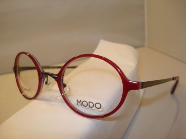 AUTH NEW MODO EYEGLASSES 206 TITANIUM RED  ROUND w/ CASE