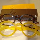 2 PAIR AUTH MONTANA VINTAGE ROUND READING GLASSES READERS TORTOISE & YELLOW 2.0
