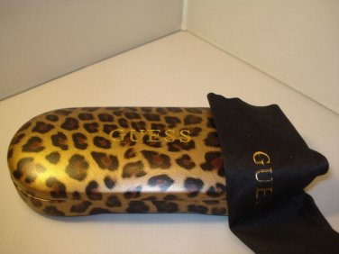 AUTH NEW GUESS HARD EYEGLASSES CASE LEOPARD w/ CLOTH