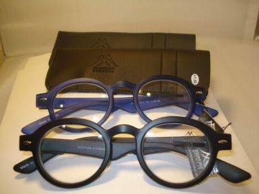 2 PAIR AUTH MONTANA VINTAGE ROUND READING GLASSES READERS BLACK & BLUE 2.00