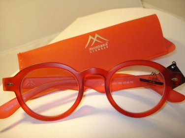 AUTH MONTANA VINTAGE DESIGNER PREPPY ROUND READING GLASSES READERS RED 2.00