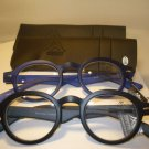 2 PAIR AUTH MONTANA VINTAGE ROUND READING GLASSES READERS BLACK & BLUE 1.50