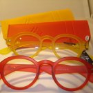 2 PAIR AUTH MONTANA VINTAGE ROUND READING GLASSES READERS RED & YELLOW 2.50