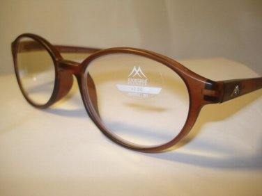 AUTH MONTANA VINTAGE DESIGNER LARGE OVAL READING GLASSES READERS BROWN 2.00