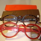 2 PAIR AUTH MONTANA VINTAGE ROUND READING GLASSES READERS TORTOISE & RED 2.50