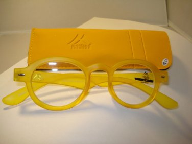 AUTH MONTANA VINTAGE DESIGNER  PREPPY ROUND READING GLASSES READERS YELLOW 1.00