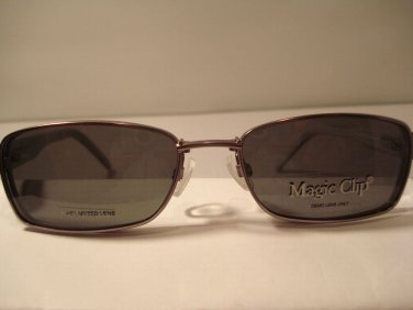 AUTH NEW MAGIC CLIP EYEGLASSES 404 SILVER w/ POLARIZED MAGNETIC CLIP