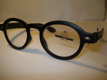 AUTH MONTANA VINTAGE DESIGNER PREPPY ROUND READING GLASSES READERS BLACK 3.00