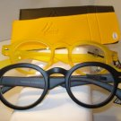 2 PAIR AUTH MONTANA VINTAGE ROUND READING GLASSES READERS BLACK & YELLOW 3.00