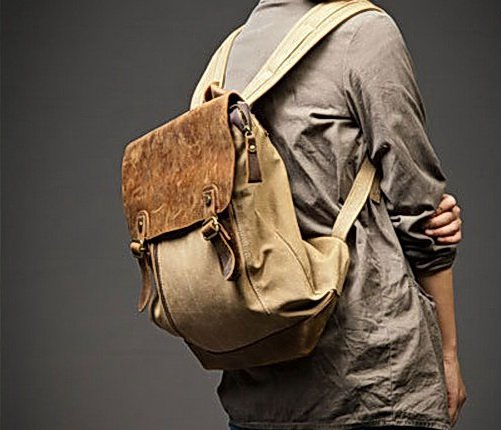 8. Backpack VINTAGE Retro� Canvas cowhide leather. Khaki. FREE DELIVERY