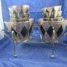 Vintage Mid-Century Modern bar set 8 glasses, 2 ice buckets & caddy black & gold