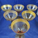 Set of 6 vintage amber stemware glass with gold inlay water wine glasses goblets