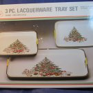 set of 3 nesting Christmas trays~vintage made in Japan Lacquerware in box