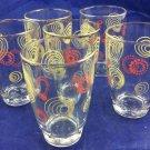 Vintage Retro Yera Juice Glasses Yellow Orange Swirl Glass 1970s