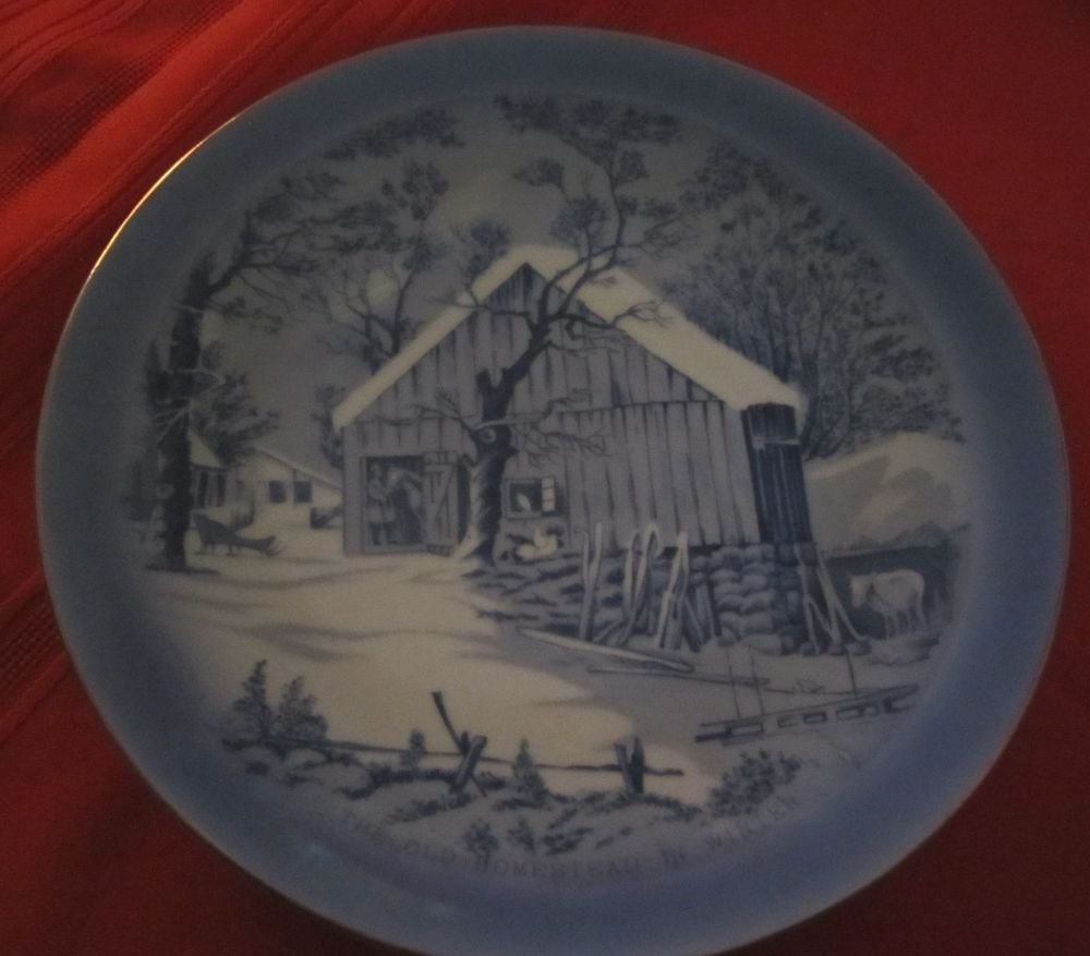 The Old Homestead in Winter Christmas theme collector's plate made in Japan