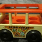 vintage Fisher Price white & fluorescent orange MINI BUS #141~retro 1969 toy