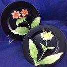 """2 Vintage 1978 Fitz and Floyd Fleur De Minuit FF37 7.5"""" Black Plates Flowers"""
