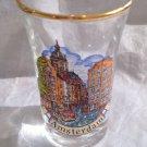 Amsterdam Shot Glass Gold Rim Memorabilia Tourist Souvenir Travel Netherlands