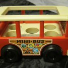 vintage Fisher Price red & white MINI BUS #141~retro toy from 1969