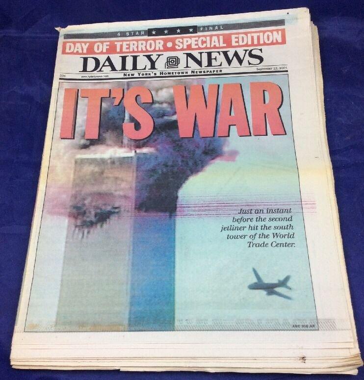 September 12 2001 NY Daily News It's War 9/11 September 11 New York