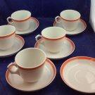 5 Pillivuyt Tea Coffee Cups & Saucers + Extra Saucer White & Orange Stripes