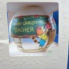 vintage 1980 Merry Christmas Teacher satin Hallmark ornament new in box USA cat