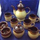 Vintage Brown Tri-colored Stoneware Coffee Tea Set Service Nevco Formosa