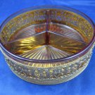 Ovington New York France 3 Divided Dish of an Amber Glass & Intricate Gold Metal