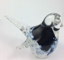 Vintage 1988 Art Glass Bird Signed Poalo? Scandinavian? Italian? Blue White